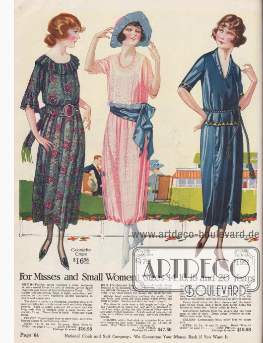 Kleider für junge Frauen bis 20 Jahre und kleingewachsene Damen. Die beiden linken Modelle zeigen breite Taillenschärpen, die in einer großen Schleife enden. Georgette-Krepp, Seiden-Georgette mit großflächigen Perlenstickereien und Seiden-Taft sind die Stoffe, die für diese Kleider verwendet werden.
