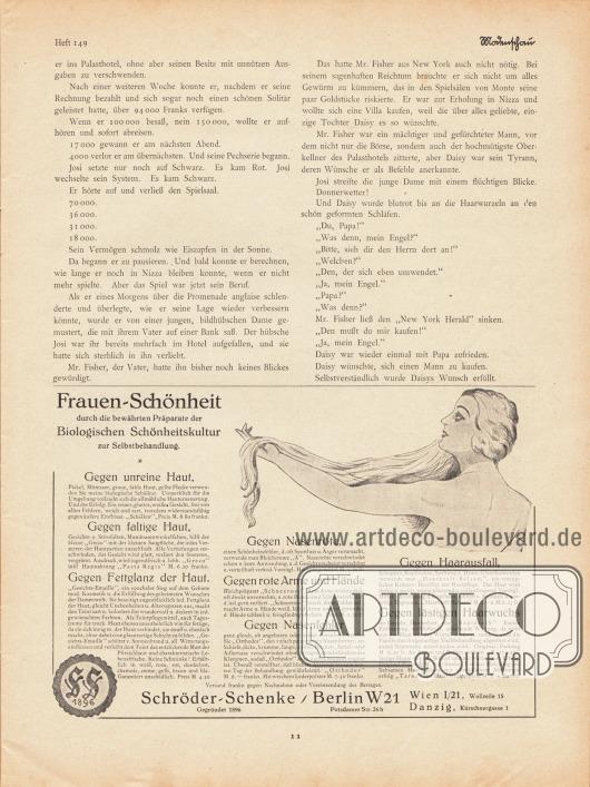 Artikel:Jung, Hans, Der Bräutigam auf Probe.Werbung:Frauen-Schönheits Präparate der Biologischen Schönheitskultur, Schröder-Schenke, Berlin W 21, Potsdamer Str. 26b.
