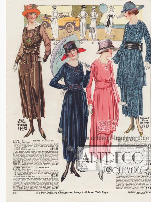 Vier Damenkleider für das Frühjahr aus changierendem Seiden-Taft, handbesticktem Satin, Trouville Stoff (leinenähnlicher Stoff aus Baumwolle) oder mit Blumen gemustertem Voile (Schleierstoff). Das Oberteil des ersten Kleides ist kunstvoll mit Rohseidenfasern bestickt. Die Ärmel sind aus duftigem Seiden-Georgette Krepp. Auch das zweite Kleid ist mit Stickerei an Ausschnitt, Brust und Gürtelschärpe versehen. Tunika mit Seidenfransen. Das dritte Modell besitzt einen plissierten Rock sowie eine bestickte Schürze. Das vierte Kleid zeigt eine vorne unterbrochene Tunika sowie ein Brustpaneel mit beidseitigen Zierknopfleisten.