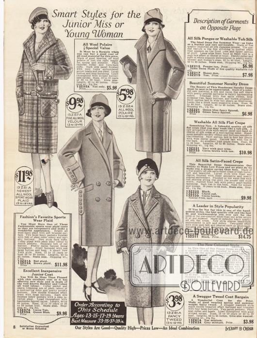 """""""Pfiffige Moden für den Backfisch oder die junge Frau"""" (engl. """"Smart Styles for the Junior Miss or Young Woman""""). Frühjahrs- und Sportmäntel für junge Damen im Alter von 13 bis 19 Jahren. Die Mäntel sind aus kariertem Wollgewebe, """"wool polaire"""", Woll-Velours oder Tweed mit Fischgrätenmuster. Die Mäntel zeigen aufgesetzte Taschen und interessant gearbeitete Ärmelstulpen. Geschlossen werden die Modelle entweder mittels einem großen Knopf oder über zwei Knöpfe (zweireihige Exemplare)."""