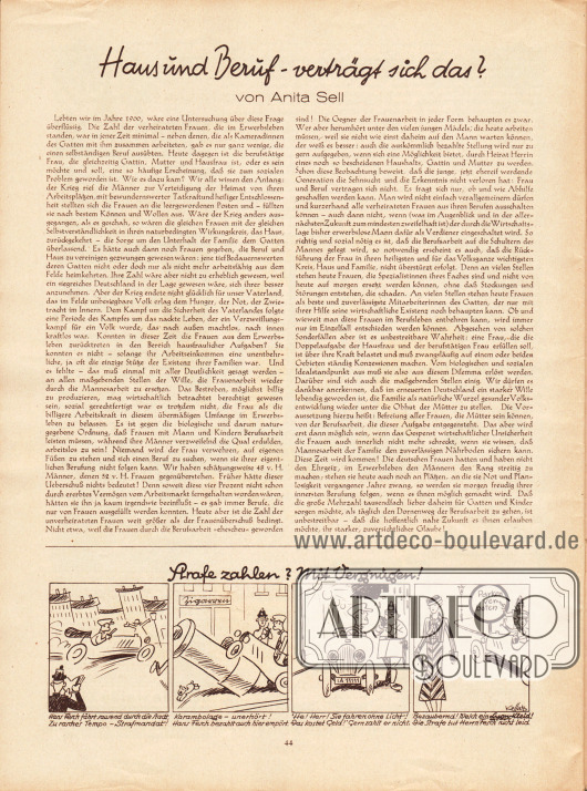 Artikel:Sell, Anita, Haus und Beruf - verträgt sich das?Vier Karikaturen: Strafe zahlen? Mit Vergnügen!Zeichnungen: Hans Kossatz (1901-1985).