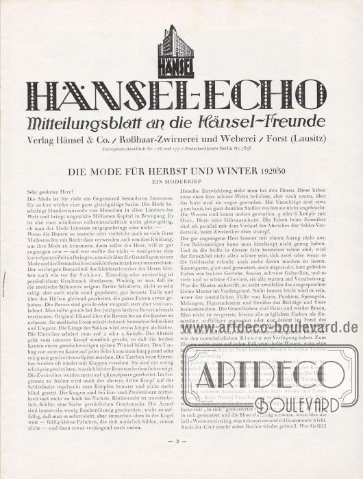 Artikel: Henschke, Bruno, Die Mode für Herbst und Winter 1929/30. Ein Modebrief.  Hänsel-Echo Mitteilungsblatt an die Hänsel-Freunde. Verlag Hänsel & Co./Roßhaar-Zwirnerei und Weberei/Forst (Lausitz).