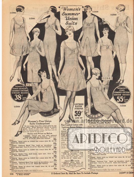 """""""Sommerliche Hemdhosen für Frauen"""" (engl. """"Women's Summer Union Suits""""). Damenunterwäsche für den Sommer bestehend aus gerippter oder gekämmter Baumwolle. Die Beine der ärmellosen Hemdhosen enden knapp über oder unter den Knien und sind wahlweise weit oder enganliegend gearbeitet."""