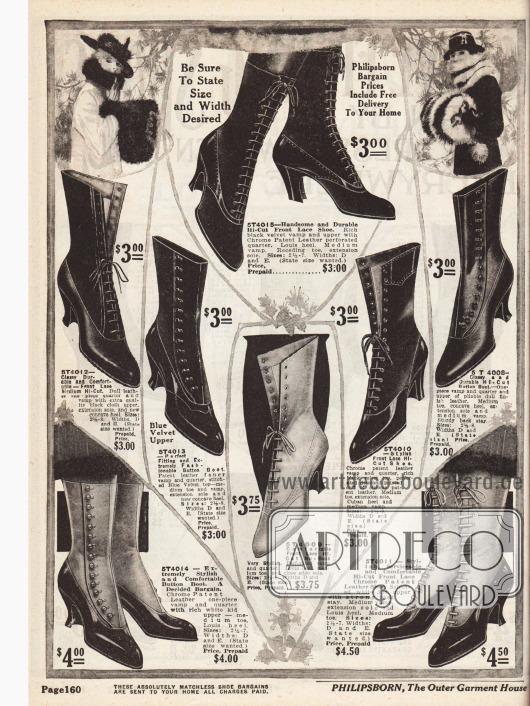 Hochgeschlossene Damenstiefeletten aus Lackleder, Nubukleder (feines Rauleder), Chevreauleder und Samt. Die Absätze sind fast ausschließlich Louis XIV Absätze und nur ein Modell weist kubanische Absätze auf. Geschlossen werden die Schuhe entweder über die Frontschnürung oder durch seitliche Knöpfe.