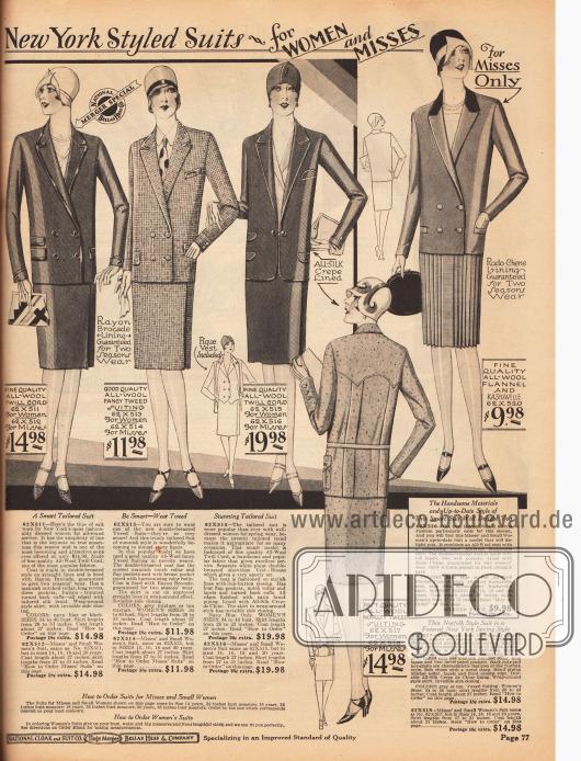 """In herrenmäßiger Fasson präsentieren sich diese Kostüme für Frauen. Die Modelle sind aus Woll-Twill, Woll-Tweed sowie Woll-Flanell und Kasha. Abgesehen von einem Modell sind alle gezeigten Kostümjacken doppelreihig. Zwei der Jacken sind mit leicht glänzenden Tressen versehen, eine Jacke zeigt einen schwarzen Samtkragen. Unten rechts befindet sich ein Kostüm im sog. """"Norfolk Stil"""". Charakteristisch sind die Gürtelung und die eingearbeiteten Falten im Rücken. Besonders für den Sport sind Norfolk Kostüme geeignet und gedacht."""