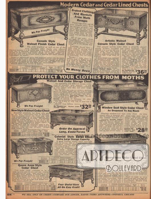 """""""Moderne Betttruhen aus Zedernholz oder mit Zedernholz furniert – Schützen Sie Ihre Kleidung vor Motten"""" (engl. """"Modern Cedar and Cedar Lined Chests – Protect Your Clothes from Moths""""). Ornamentale und kunstvoll verarbeitete Bettkästen und Bettkisten zum Verstauen von Bettwäsche, Kleidung, Pelzen oder Handtüchern aus Zedern-, Walnuss- oder Nussbaumholz. Die Betttruhen sind in den beliebten Kolonial- oder Queen Anne Stilen (1702 bis 1714) aufgemacht. Die Standbeine sind gedrechselt oder geschweift."""