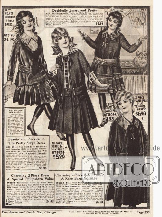 Kleider für Mädchen im Alter von sechs bis 14 Jahren aus Samt Cord, Woll-Serge und Seideneinsätzen und Samt. Zwei der Kleider sind zweiteilig.
