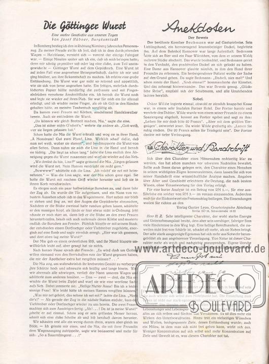 Artikel: Hübner, Josef, Die Göttinger Wurst. Eine wahre Geschichte aus unseren Tagen von Josef Hübner, Burgkunstadt; o. V., Anekdoten (Der Beweis, Nobel); o. V., Charakter und Handschrift.