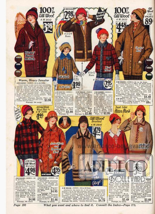 Damenstrickjacken - auch aus gekämmter Wolle - für Sport und Freiluftaktivitäten.
