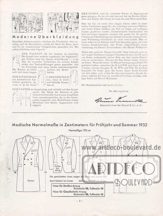 """Artikel: Henschke, Bruno (Geschäftsführer), Winke für die Frühjahrs- und Sommermode 1932. Den Hänsel-Freunden für ihre Praxis. Im unteren Bilddrittel befinden sich die """"modische[n] Normalmaße in Zentimetern für Frühjahr/Sommer 1932"""" für die männliche """"Normalfigur"""" von 172 cm."""