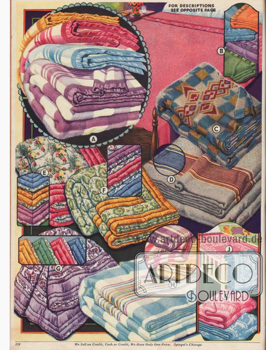 Weitere gemusterte oder einfarbige Bettdecken, Wolldecken und Babydecken aus Woll- und Baumwollstoffen.