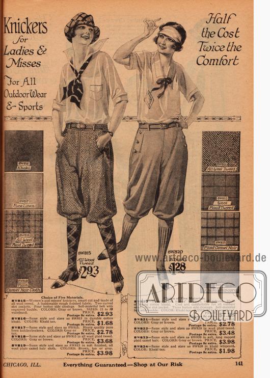 Doppelseite mit Sportröcken und Kniebundhosen für Frauen.Die Röcke werden wahlweise aus verschiedenen plissierten Stoffen angeboten wie Angorawolle, leichtem Woll-Panama, Woll-Kanton Krepp, Seiden-Kanton Krepp, Woll-Kanton-Mischstoff, Woll-Panama Mischstoff und Wollserge.Die Kniebundhosen können wahlweise aus Khakistoff, reinem Leinen, Woll-Tweed, Kamelhaar oder Khaki-Kordstoff sein.