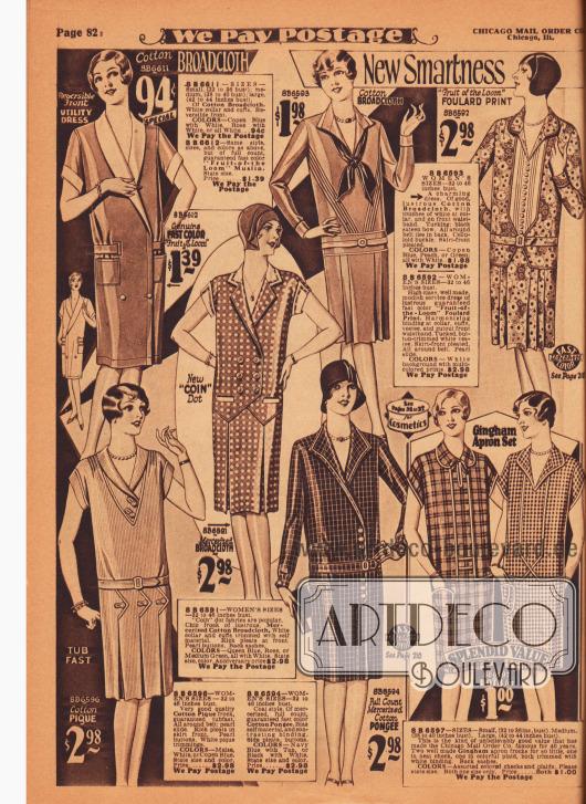 """Günstige einfache Tages- und Straßenkleider sowie Haushaltskleider, Kittelkleider und """"porch dresses"""" (dt. Verandakleider). Die Kleider sind aus Baumwoll-Breitgewebe, bedrucktem Foulard, merzerisiertem Baumwoll-Breitgewebe, Baumwoll-Pikee, Baumwoll-Pongee und kariertem Gingham."""