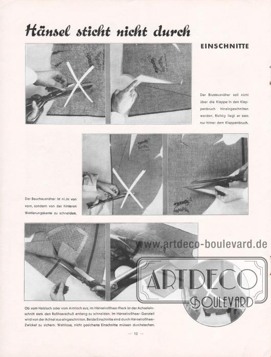 """""""Hänsel sticht nicht durch"""".Verarbeitungshinweise für den Hänselstoff, hier am Beispiel von Einschnitten."""