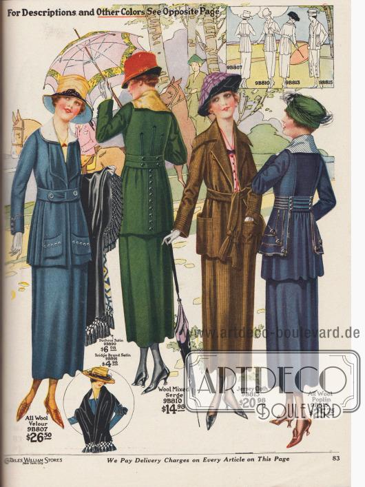 Vier Kostüme für Damen, die mit Gürteln, Doppelgürteln oder Gürtelbändern anstatt mit Knöpfen geschlossen werden. Die Jackenschöße sind weit, leicht abstehend und Falten werfend geschnitten oder mit seitlichen Plisseefalten versehen. Die Kostüme sind aus hellblauem, reinen Woll-Velours, grünem Woll-Serge-Mischgewebe, mittelbraunem Jersey und marineblauem Woll-Popeline. Das letzte Modell zeigt eine Paspelierung sowie Tressen aus schwarzer Seide an den Seiten und in der Taille der Jacke. Zierknöpfe sind an allen Modellen außer dem braunen Jersey-Kostüm zu finden. Dieses jedoch zeigt aufgesetzte Taschen sowie einen breiten, überlappenden Kragen.