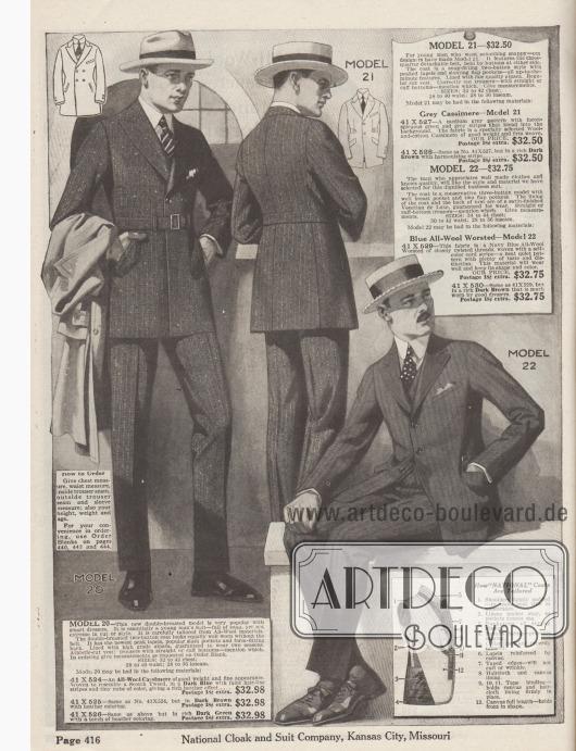 Modell 20: Schmissiger, zweireihiger Sakkoanzug, der auf zwei Knöpfe schließt, für junge Männer. Sakko mit steigenden Revers, Brusttasche, schräg eingelassenen Schlitztaschen, glattem Schoßabschluss und abnehmbarem Gürtel. Alpakawolle als Futter. Anzug bestellbar in Kaschmirwolle ähnlich schottischem Tweed in mittelschwerer Qualität mit feinsten Nadelstreifen in den Farben Dunkelblau (41X524), Dunkelbraun (41X525) oder Dunkelgrün (41X526). Modell 21: Einreihiger Anzug mit zwei Knöpfen für junge Männer. Sakko mit dreiviertellangem, abnehmbarem Gürtel, steigenden Revers, Taillenabnähern, schräg eingelassenen Taschen, Taschenklappen und Brusttasche. Bestellbar in grünlich-grauer Kaschmirwolle mit grauen Streifen (41X527) oder in Dunkelbraun mit gleichem Muster (41X528). Modell 22: Eleganter, einreihiger Geschäftsanzug mit drei Knöpfen im konservativen Stil für Herren. Sakko mit schräger Brusttasche und zwei Schoßtaschen mit Klappen. Weste und Sakko mit hochwertigem Venetian (?) gefüttert. Sakkoanzug bestellbar in Kammgarnwolle mit Kordstreifen in Marineblau (41X529) oder Dunkelbraun (41X530).