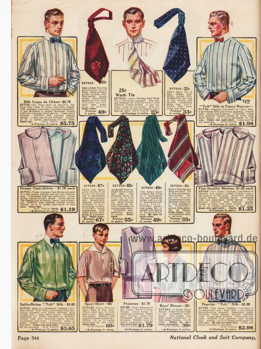 Gestreifte Anzughemden und breite Krawatten für den Herrn.