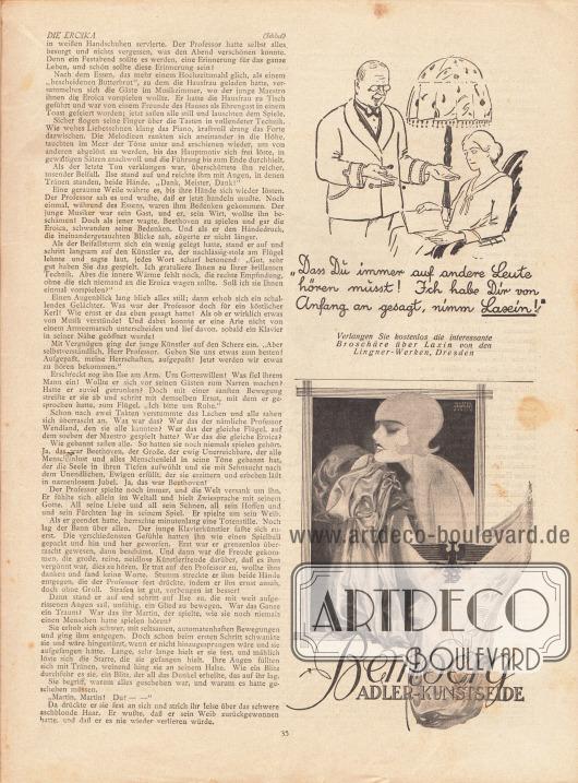 Artikel:Welten, Heinz, Die Eroika.Werbung:Laxin, Lingner-Werke Dresden&#x3B;Bemberg Adler-Kunstseide, Illustration: Axster Heudtlass, Berlin (1898-1949).