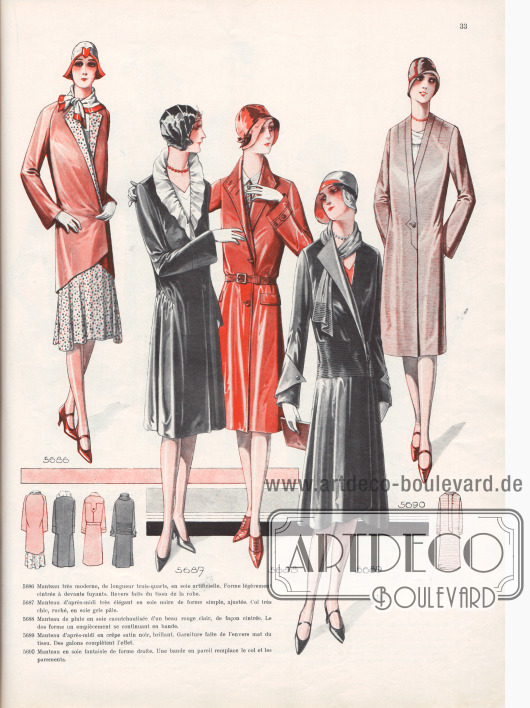 5686: Manteau très moderne, de longueur trois-quarts, en soie artificielle. Forme légèrement cintrée à devants fuyants. Revers faits du tissu de la robe. 5687: Manteau d'après-midi très élégant en soie noire de forme simple, ajustée. Col très chic, ruché, en soie gris pâle. 5688: Manteau de pluie en soie caoutchoutisée d'un beau rouge clair, de façon cintrée. Le dos forme un empiècement se continuant en bande. 5689: Manteau d'après-midi en crêpe satin noir, brillant. Garniture faite de l'envers mat du tissu. Des galons complètent l'effet. 5690: Manteau en soie fantaisie de forme droite. Une bande en pareil remplace le col et les parements.