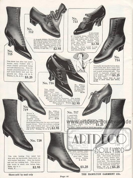 Zwei Schnallenschuhe, ein Paar Pumps, ein gewöhnliches Paar Oxfords, ein Blücher Oxford für Damen und fünf Stiefeletten sind auf dieser Seite zu finden. Diese Schuhe der günstigen Preiskategorie sind aus Lackleder oder Ziegenleder. Auffällig ist, dass die Absätze der meisten Schuhe hier eher flach sind.