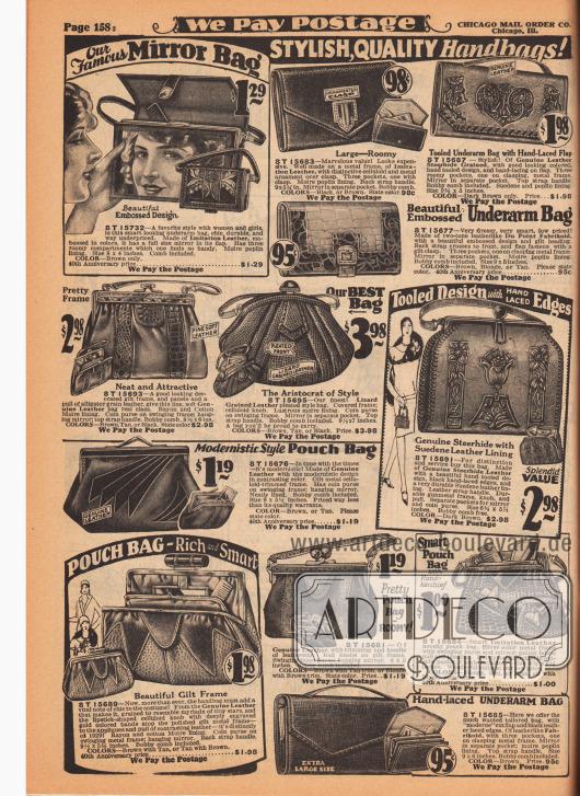 """Handtaschen, Rahmenhandtaschen, Beuteltaschen und Schminktaschen für Damen. Die Handtaschen sind aus Lederimitaten (""""Du Point Fabrikoid"""") mit reptilien-, eidechsen- oder alligatorenartig genarbter Oberfläche sowie auch echtem Leder. Einige Modelle besitzen einen Metallrahmen mit Tragegurt, andere einen Riemen auf der Oberseite zum handlichen zwischen den Arm klemmen (engl. """"Underarm Bag""""). Druck- und Klemmverschlüsse. Einzelne Handtaschen zeigen eine ornamentierte Oberfläche (Mitte rechts) oder ein modernistisches Dekor (Mitte links unten). Ein Modell mit großem Spiegel links oben."""