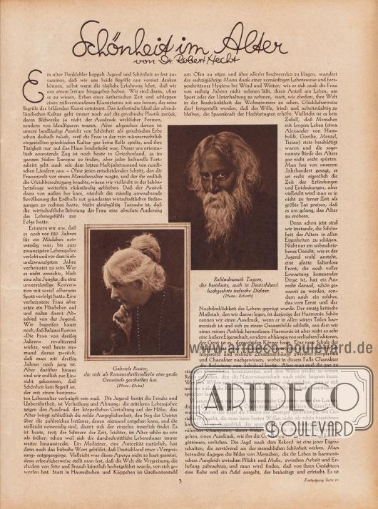 """Artikel: Hecht, Dr. Robert, Schönheit im Alter (von Dr. Robert Hecht, Lebensdaten unbekannt).  Der Artikel wird begleitet von der Fotografie einer älteren Dame und eines älteren Herrn. Die Bildunterschriften lauten """"Rabindranath Tagore [1861-1941], der berühmte, auch in Deutschland hochgeehrte indische Dichter"""" sowie """"Gabriele Reuter [1859-1941], die sich als Romanschriftstellerin eine große Gemeinde geschaffen hat"""". Fotos: Erfurth; Elvira."""