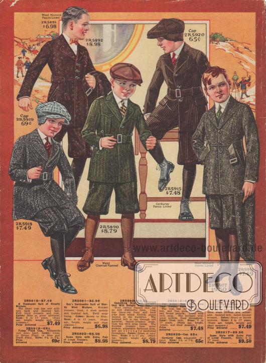 Schul- und Straßenanzüge im Norfolk-Stil aus Woll-Mischstoffen, Flanell-Cheviot-Wolle oder Cord bzw. Kord für 8 bis 17-jährige Jungen. Die Anzüge sind in den Farbtönen Blau, Grün, Braun oder Grau bestellbar. Die Jacken sind mit Gürtel und Schließe versehen und besitzen eingearbeitete Taschen. Alle Anzüge werden mit kurzen Hosen geliefert, zwei Modelle werden mit einer zweiten Wechselhose gegen Aufpreis geliefert. Zu zwei Modellen werden passende Mützen aus demselben Stoff angeboten. Das grüne Modell kommt dem klassischen Norfolk Anzug durch seine von der Brust bis zur Taille reichenden Patten am nächsten.