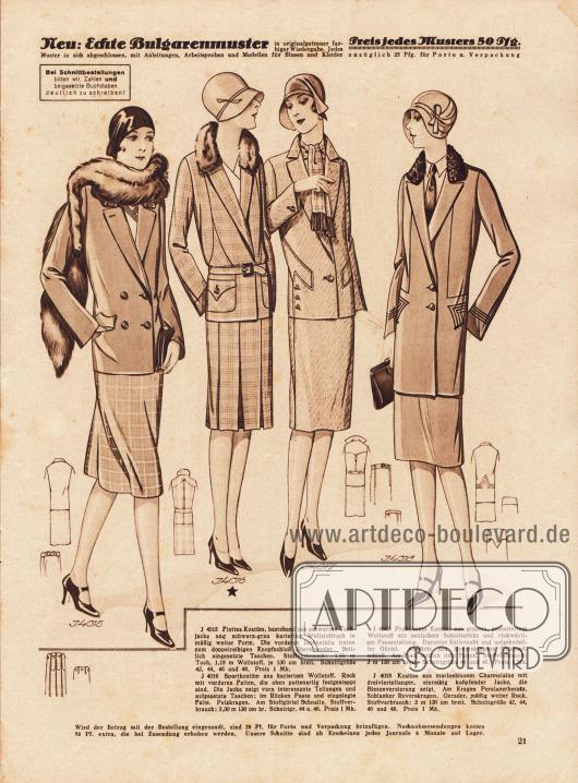 4015: Flottes Kostüm, bestehend aus schwarzer Tuchjacke und schwarz-grau kariertem Wollstoffrock in mäßig weiter Form. Die vorderen Jackenteile treten zum doppelreihigen Knopfschluß übereinander. Seitlich eingesetzte Taschen. 4016: Sportkostüm aus kariertem Wollstoff. Rock mit vorderen Falten, die oben pattenartig festgesteppt sind. Die Jacke zeigt vorn interessante Teilungen und aufgesetzte Taschen; im Rücken Passe und eingelegte Falte. Pelzkragen. Am Stoffgürtel Schnalle. 4017: Praktisches Kostüm aus grauem, gemustertem Wollstoff mit seitlichem Schnitteffekt und rückwärtiger Passenteilung. Darunter Kellernaht und aufgeknöpfter Gürtel. Abwärts des Reverskragens Einknopfschluß. Am Rock seitlich tiefe Falten. 4018: Kostüm aus marineblauem Charmelaine mit dreiviertellanger, einreihig knöpfender Jacke, die Biesenverzierung zeigt. Am Kragen Persianerbesatz. Schlanker Reverskragen. Gerader, mäßig weiter Rock.