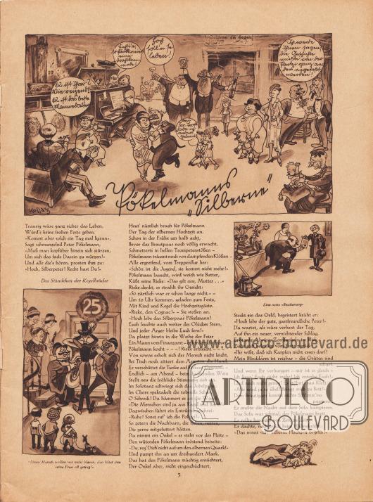 """Artikel (Reim): Malkowsky, Emil Ferdinand, Pökelmanns """"Silberne"""" (wahrscheinlich von Emil Ferdinand Malkowsky, 1880-1965).  Die beiden Bildunterschriften der Zeichnungen lauten """"Einen Marsch wollen wir nicht blasen, den bläst ihm seine Frau oft genug!"""" und """"Eine nette 'Bescherung'"""". Zeichnungen/Illustrationen: Hans Ewald Kossatz (1901-1985)."""