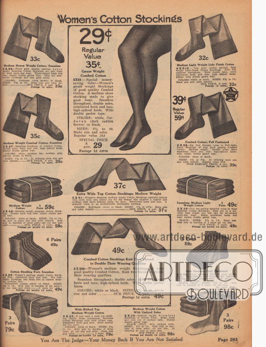 """""""Baumwollstrümpfe für Damen"""" (engl. """"Women's Cotton Stockings""""). Lange Strümpfe und Kurzsocken aus gekämmten Baumwollgarnen in mittleren und schweren Qualitäten mit verstärkten Fersen, Sohlen und Zehenbereichen. Die Strumpf- und Sockenpaare werden einzeln, im Dreier- oder Sechserpack verkauft. Die langen Strümpfe besitzen ein breites Bündchen für Strumpfbandhalter."""