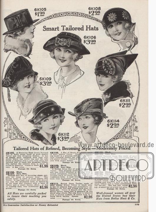 """""""Patente maßgeschneiderte Hüte"""" (engl. """"Smart Tailored Hats""""). Damenhüte in günstigen Preislagen von 1,98 bis 3,98 Dollar. 6K105: Schwarzer Seglerhut aus Samt und Seide mit hoher Krone und breitem Ripsband. Schmale, glatte Krempe. 6K106 / 6K107: Mittelgroßer Hut aus Seiden-Samt mit gekräuselter Krone. Weiche Krempe vorne hochgebogen. Mit Ripsband und Ornament in Form einer Metallschließe aufgeputzt. 6K108: Schlichter, kleiner Hut in Turban-Form aus hochwertigem, schwarzem Samt mit aufgestickten, pastellfarbenen Seiden-Margeriten. 6K109 / 6K110: Modischer Hut aus Seiden-Samt in Schwarz oder Marineblau. Drapierte, schräg abfallende Oberseite im Stil einer Schottenmütze. Cellophan-Ornament mit Quaste aus glänzenden Jett- bzw. Gagat-Perlen. Pilzkrempe (engl. """"mushroom brim""""). 6K111: Mondäner Turban aus schwarzem Spiegel-Samt mit flügelartig drapierten Samtflanken. Plissierte Kokarde aus Band, gehalten von einer schwarzen Schnalle. 6K112 / 6K113: Pfiffiger Hut aus schwarzem oder marineblauem Seiden-Samt. Ovale Krone und hochgeschlagene Krempe mit Schnurverzierung aus Ripsand. Leichte Dreispitz-Form. Krempe mit Stickerei in Mattgold. 6K114 / 6K115: Turban aus schwarzem oder marineblauem Spiegel-Samt in einfachem Stil. Schnurverzierung und schmale Ripsband-Applikation mit Schleife. Spitze, ornamentale Hutnadel als Dekor."""