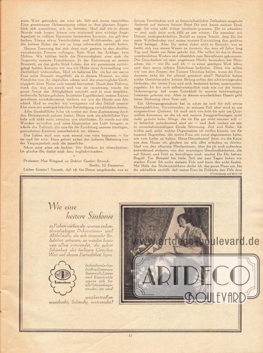 Artikel: Fulda, Ludwig, Der Pelz beim Kürschner. Werbung: Indanthren, Dekorations- und Möbelstoffe.