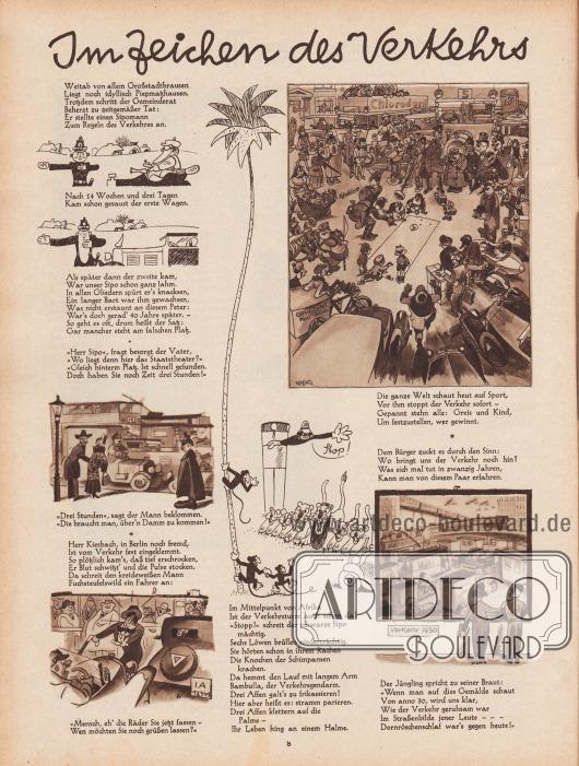 Artikel (Reim): O. V., Im Zeichen des Verkehrs. Zeichnungen/Illustrationen: Hans Kossatz (1901-1985).