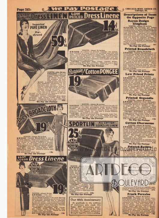 """Günstige Kleiderstoffe wie reines importiertes Leinengewebe, Breitgewebe, Baumwoll-Pongee (Seide) sowie """"Sportlin"""", ein leinenartiges Gewebe das vollständig aus dicken Baumwollfäden hergestellt ist. Die Preise liegen zwischen 13 und 59 Cent pro Yard (91,44 cm). In der rechten Spalte sind die Beschreibungen für die Stoffe auf der gegenüberliegenden Seite 213."""