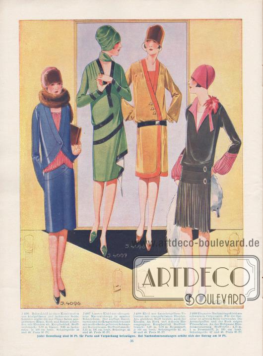 4096: Bolerokleid in einer Kombination von königsblauer und lachsroter Seide. Letztere ergibt die mit Plisseefalten ausgestattete Bluse. Rock und Bolero schließen mit Blenden ab. Knopfschluß. 4097: Apartes Kleid aus olivgrünem Marocainkrepp in aparter Schnittform. Der zipflige Garniturteil und die Kragenblenden sind mit weißer Seide gefüttert. Schwarzer Bortenbesatz. 4098: Kleid aus kanariengelbem Veloutine mit orangefarbenen Blenden. Aus gleichem Stoff besteht auch der Einsatz. An Rock und Achseln Biesengruppen. Knopfschluß. 4099: Elegantes Nachmittagskleid aus schwarzem Crêpe-Satin. Für die Garnitur ist altrosa Seide verwendet. Die Ärmelpuffen und der Rock zeigen Plisseefalten. An der Hüftpasse Blendenausstattung.