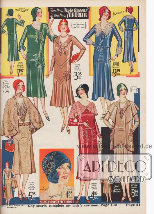 """""""Die neue 'Style Queen' in der neuen Modelinie"""" (engl. """"The New 'Style Queen' in the New Silhouette""""). Elegante Tages- und Nachmittagskleider aus Seiden-Krepp, Rayon Krepp oder Rayon-Satin mit eingewebten Baumwollgarnen sowie zwei Ensembles aus Baumwoll-Kaschmir-Tweed oder importierter Japanseide. Die Kleider sind mit glockigen Röcken gearbeitet und zeigen Schleifen, aufgeknöpfte Blenden, Bandschleifen, Biesen, eingearbeitete Fältchen, Reihenziehungen, Broschen oder Ärmelaufschläge und Kragengarnituren aus besticktem Organdy oder Écru-Spitze. Unter den Ensembles befindet sich ein Modell mit Umhang, dessen Bluse mit breitem Jabot aus plissiertem Stoff gearbeitet ist. Rock mit bogiger Passe und eingearbeiteten Kellerfalten. Das Ensemble rechts unten mit Schultercapes und Stickereien. Unten Mitte ein Damenhut aus Hanf-Geflecht mit Büscheln von Plüsch-Blumen sowie Ripsband mit Schleife."""