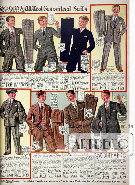 Anzüge für Jungen im Alter von 6 bis 16 Jahren wahlweise mit langen Hosen oder kurzen Kniebundhosen. Die Anzüge sind aus Cheviot, Woll-Tweed und anderen reinen Wollstoffen. Die Anzüge mit Gürtel und großen Taschen im sogenannten Norfalk-Stil sind besonders für sportliche Aktivitäten gedacht.
