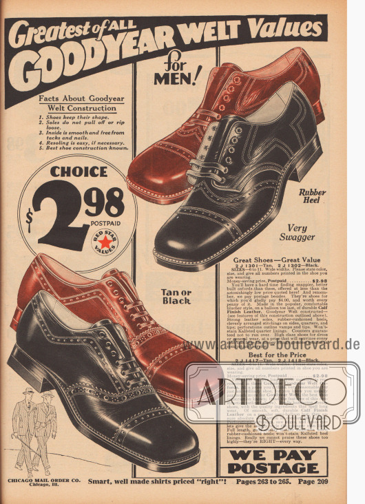 """""""Größte Werte aller Rahmengenähten Schuhe für Männer!"""" (engl. """"Greatest of All Goodyear Welt Values for Men!""""). Zwei Paar Herrenschuhe aus Kalbsleder, die wahlweise in Schwarz oder Braun bestellt werden konnten, zum Preis von je 2,98 Dollar. Oben ein Derby-Modell mit offener Schnürung und unten ein Oxford-Modell mit geschlossener Schnürung. Beide Schuhpaare mit Lochmusterreihen bzw. Lyralochung. Ledersohlen mit Gummiabsätzen. Kantige Schuhkappen."""