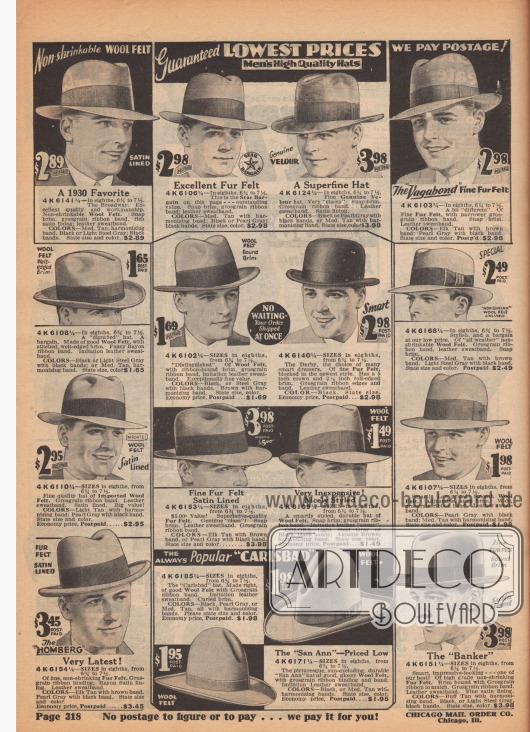 """Broadway Hüte mit dünner, leicht abgeknickter Krempe (auch Fedora Hut genannt), Homburgs mit dicker, hochgebogener Krempe, ein Derby Hut (Melone) und zwei """"Cowboy"""" Hüte."""
