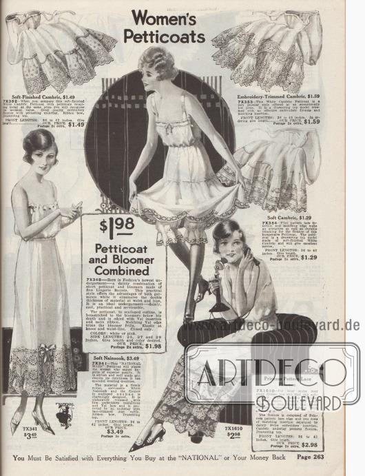 """""""Damen-Petticoats"""" (engl. """"Women's Petticoats""""). Damenwäsche in Weiß oder Rosa. Petticoats bzw. lange Unterröcke aus Batist, Lingerie-Batist oder Nainsook (leichter Musselin, Baumwolle). Die Volants der Unterröcke präsentieren reiche Stickereien, Durchbruchstickerei, feine Bandschleifen, Hohlsaumnähte, bogig verarbeitete Ränder oder Spitzeneinsätze und Spitzenborten aus Filet Spitze oder Valenciennesspitze. Wäschestücke mit Zugschnüren in der Taille. In der Mitte wird ein kombinierter Petticoat mit Pumphöschen angeboten."""