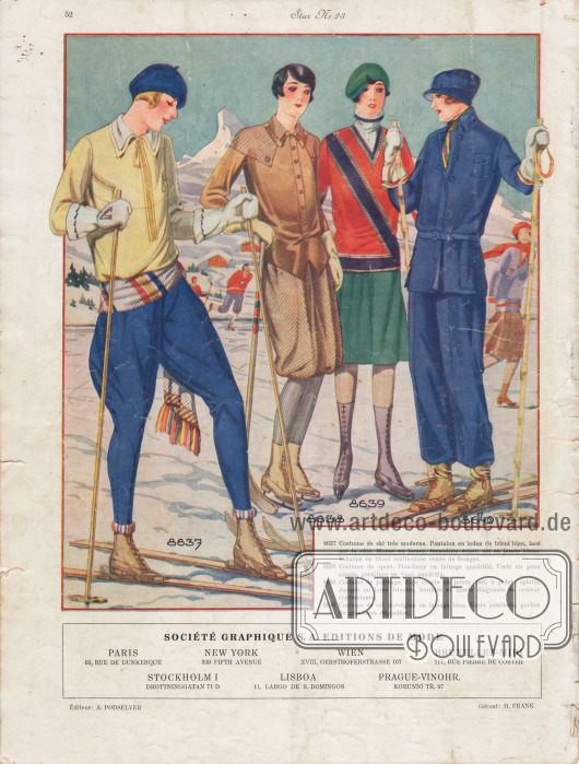 8637: Costume de ski très moderne. Pantalon en loden de tricot bleu, lacé sur le côté. Blouse en jersey, fermeture éclair, col en jersey blanc. Echarpe en tricot multicolore ornée de franges. 8638: Costume de sport. Plus-fours en lainage quadrillé. Veste en peau souple, garniture en tissu quadrillé. 8639: Costume de patinage. Jupe courte en jersey vert, à godets aplatis. Jumper en laine tricotée, bordure et bande diagonale de couleur contrastante. 8640: Costume de ski norvégien en lainage bleu. Veste ceinturée, poches de grandeurs dégradées.  Société Graphique S. A. Editions de Mode. Paris, 69, Rue de Dunkerque; New York, 399 Fifth Avenue; Wien, XVIII, Gersthoferstrasse 107; Bruxelles-Midi, 117, Rue Pierre de Coster; Stockholm I, Drottninggatan 71 D; Lisboa, 11, Largo de S. Domingos; Prague-Vinohr, Korunní Tř. 97.  Éditeur: A. Podselver; Gérant: H. Frank.