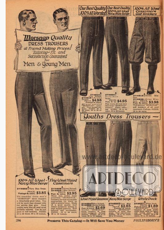 """Doppelseite mit Herrenanzughosen und einer Kniebundhose der Marke """"Morsnap"""" aus Woll-Serge, Woll-Kaschmir, Canvas (dicht gewebter Baumwollstoff), """"Palm Beach Cloth"""" (Mischstoff aus Baumwolle und Mohair) und leichter Baumwolle."""