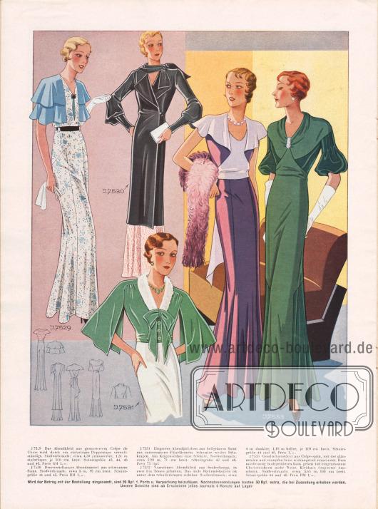 7529: Abendkleid aus gemustertem Crêpe de Chine, das durch ein einfarbiges Doppelcape vervollständigt wird.7530: Dreiviertellanger Abendmantel aus schwarzem Samt mit leicht gepufften Ärmeln.7531: Elegantes Abendjäckchen aus hellgrünem Samt mit Flügelärmeln, Schleife und schmalem, weißem Pelzkragen.7532: Abendkleid aus hellem und dunklem lila Seidenkrepp. Das Kleid besitzt ein tiefes Rückendekolleté, das unter dem Schulterkragen sichtbar wird.7533: Gesellschaftskleid aus Crêpe Satin. Der Stoff wurde wirkungsvoll mit der glänzenden und der stumpfen Oberfläche verarbeitet. Tiefe Glockenbahnen geben dem Rock mehr Weite. Zudem wurde der Ausschnitt kleidsam drapiert.