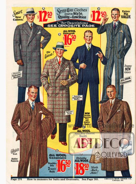 Anzüge und Ulstermäntel für Männer.