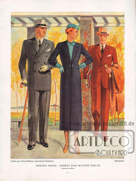 Herrenanzüge und Kostüme für die Dame für den kommende Herbst/Winter Saison 1933/34. Zeichnung: Harald Schwerdtfeger.