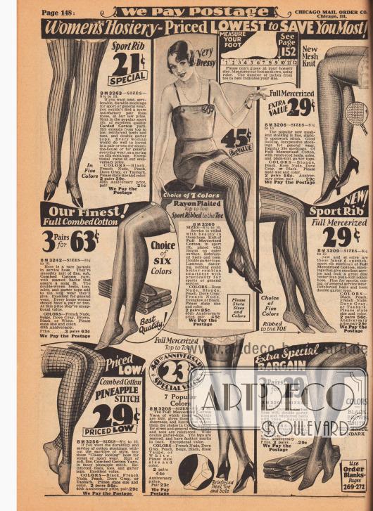 Günstige Damenstrümpfe aus dünnen und dickeren Geweben für die Straße oder den Sport. Die Strümpfe sind aus merzerisierten Baumwollgeweben, Rayon oder gerippter und/oder gekämmter (gekardeter) Baumwolle. Die Strümpfe werden in bis zu sieben Farben geliefert.
