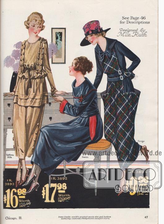 Schicke Tages- und Nachmittagskleider aus hellbraunem Seiden-Satin, marineblauer Taft-Seide oder unifarbenem Baumwoll-Woll-Serge, das mit kariertem Material kombiniert wurde, für 16 bis 20-jährige junge Frauen. Das erste Kleid zeigt die neuartig gebauschte kurze Tunika unterhalb der Taille. Paneele bzw. Stoffbänder mit nietenartig angebrachten Knöpfen fallen lose von der Schulter und werden von einem schmalen braunen Gürtelband eingefangen. Das zweite Kleid besitzt eine Tunika mit weiten Beuteltaschen aus rotem Stoff, die die Hüfte optisch stark erweitern. Neuartiger Rundkragen mit roten Seidenblumen. Das dritte Modell ist aus zweifarbigem Material kombiniert. Das karierte Material formt ein schmales Brust- und Rückenpaneel. An der Hüfte formt das weit abstehende Material großzügige Beuteltaschen. Knopfverzierung, Doppelgürtel mit Schnallen und Schleife am Ausschnitt.