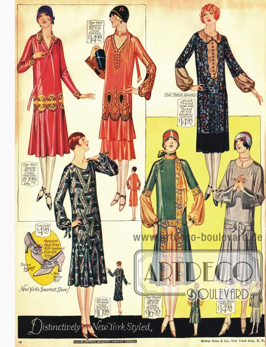 Modelle mit Falten werfenden Röcken, Stickereien und bedruckten Stoffen.