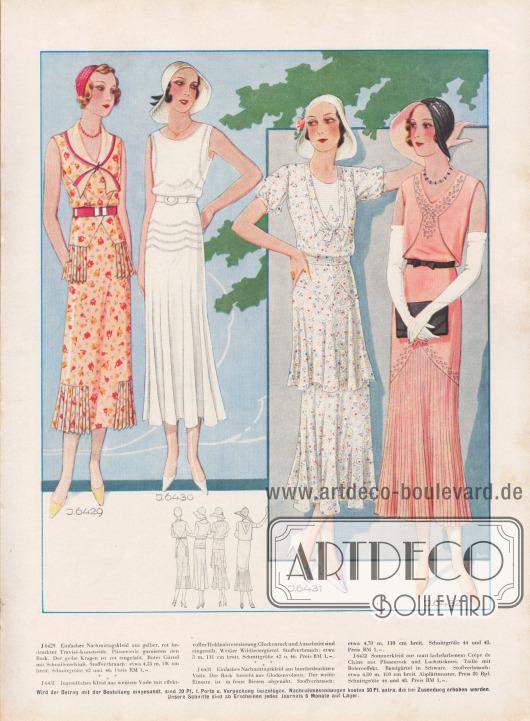 J 6429: Einfaches Nachmittagskleid aus gelber, rot bedruckter Travisé-Kunstseide. Plisseeteile garnieren den Rock. Der gelbe Kragen ist rot eingefaßt. Roter Gürtel mit Schnallenschluß. Stoffverbrauch: etwa 4,25 m, 100 cm breit. Schnittgröße 42 und 46. Preis RM 1,-. J 6430: Jugendliches Kleid aus weißem Voile mit effektvoller Hohlnahtverzierung. Glockenrock und Ausschnitt sind eingerollt. Weißer Wildledergürtel. Stoffverbrauch: etwa 3 m, 110 cm breit. Schnittgröße 42 u. 46. Preis RM 1,-. J 6431: Einfaches Nachmittagskleid aus buntbedrucktem Voile. Der Rock besteht aus Glockenvolants. Der weiße Einsatz ist in feine Biesen abgenäht. Stoffverbrauch: etwa 4,70 m, 110 cm breit. Schnittgröße 44 und 48. Preis RM 1,-. J 6432: Sommerkleid aus matt lachsfarbenem Crêpe de Chine mit Plisseerock und Lochstickerei. Taille mit Boleroeffekt. Bandgürtel in Schwarz. Stoffverbrauch: etwa 4,80 m, 100 cm breit. Abplättmuster, Preis 80 Rpf. Schnittgröße 44 und 48. Preis RM 1,-. [Seite 26a]