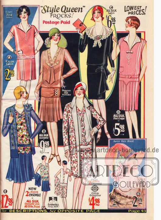Zwei elegante Damenkleider für den Nachmittag aus Seiden-Georgette (B) und Seiden-Satin (C) mit Spitzengarnitur, ein schlichtes, ärmelloses Sommerkleid aus Seiden Krepp (D), zwei mondäne zweiteilige Sommer-Ensembles aus Seiden-Georgette und bedruckter Seide (E) und Baumwoll-Gabardine (F), ein Sommerkleid aus Rayon-Satin (A) für 7 bis 14-jährige Mädchen und ein schicker Damenhut aus zartem Schweizer Haar Geflecht (wahrscheinlich Rosshaar) mit künstlichen Blüten aus Rayon und Plüsch.